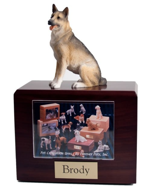 Sitting German Shepherd photo hold figurine wood cremation urn