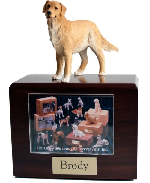 Standing Golden Retriever dog figurine atop wood photo holder cremation urn