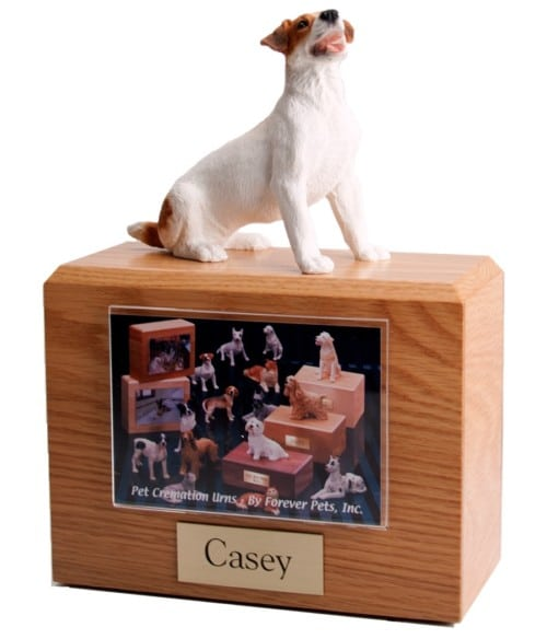 Jack Russel Terrier figurine on wood cremation urn with photo holder