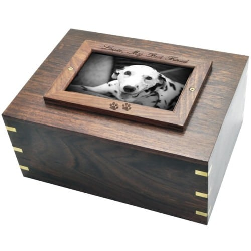 Rosewood photo frame cremation urn, with engraved frame