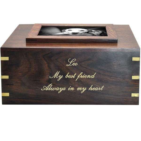 Rosewood photo frame cremation urn, engraved front, gold fill