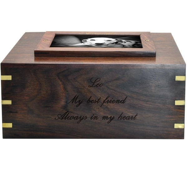 Rosewood photo frame cremation urn, engraved front