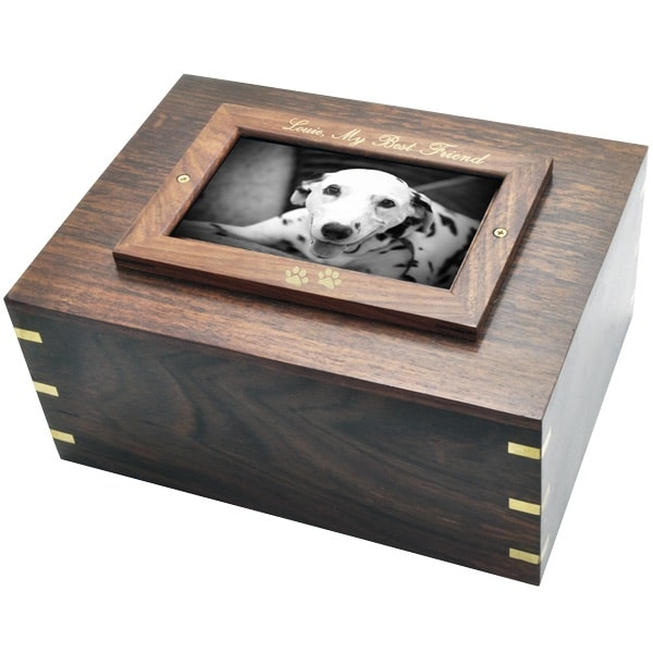 Rosewood photo frame cremation urn, engraved frame, gold fill