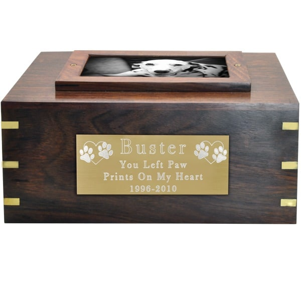 Rosewood photo frame cremation urn, with large engraved brass plate