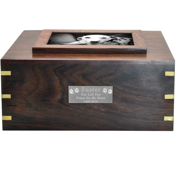 Rosewood photo frame cremation urn, with small engraved silver plate