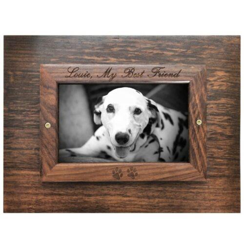Rosewood photo frame cremation urn, engraved frame