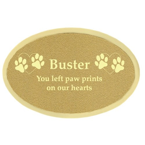 Engraved oval brass plate for urns
