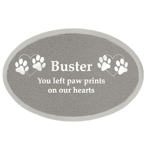 Engraved oval plate for urns, silver finish