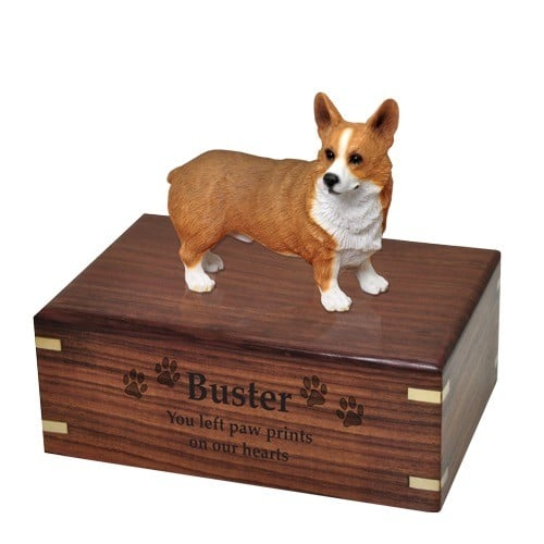 Pembroke Welsh Corgi dog figurine cremation memorial urn, engraved wood