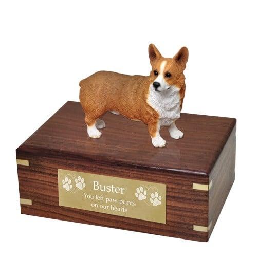 Pembroke Welsh Corgi dog figurine cremation memorial urn, engraved plaque