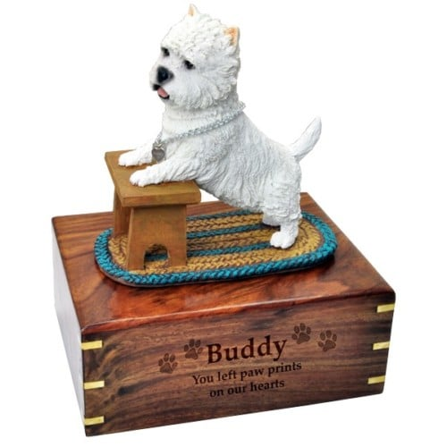 West Highland Terrier westie dog figurine cremation memorial urn, engraved wood