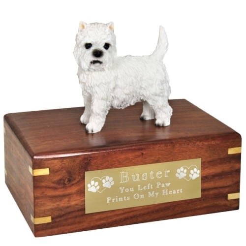 West Highland Terrier westie dog figurine cremation memorial urn, engraved plaque