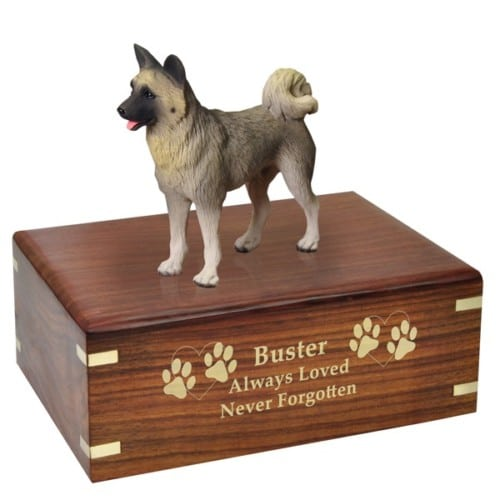 Gray Akita dog figurine cremation urn, with engraved wood, golf fill, medium