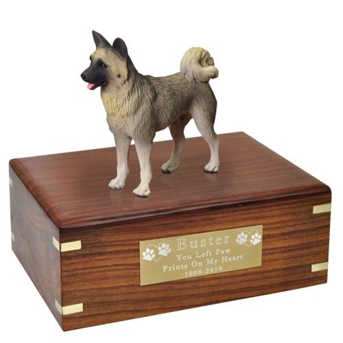 Gray Akita dog figurine cremation urn, with engraved plate, medium