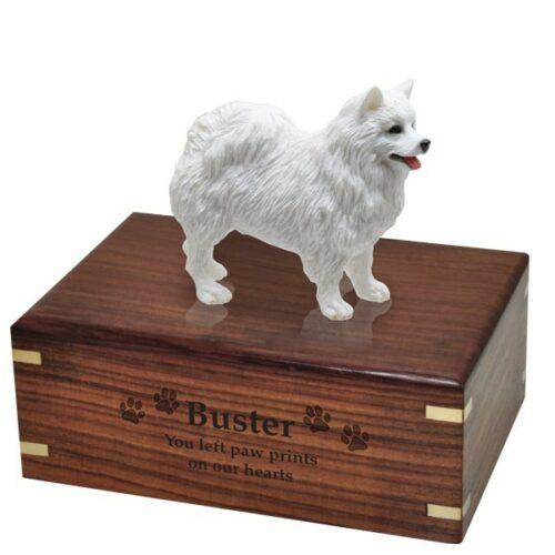 American Eskimo dog figurine cremation urn, with engraved wood, medium