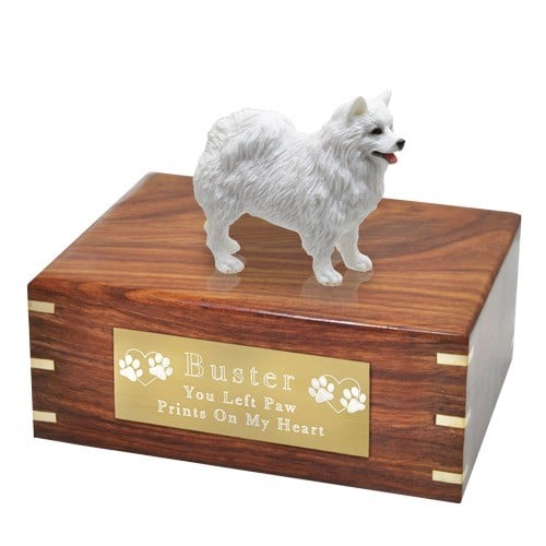 American Eskimo dog figurine cremation urn, with engraved plaque, large