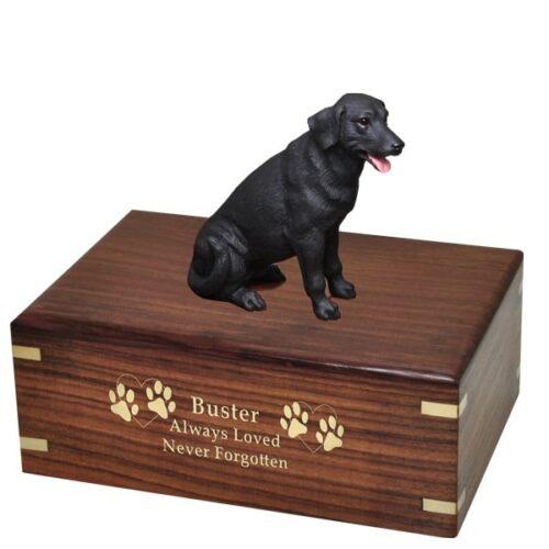 Black Labrador retriever dog figurine cremation urn, with engraved wood, gold fill