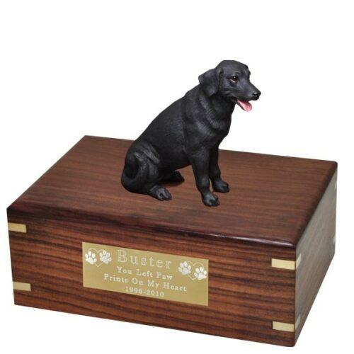 Black Labrador retriever dog figurine cremation urn, with engraved plaque, medium
