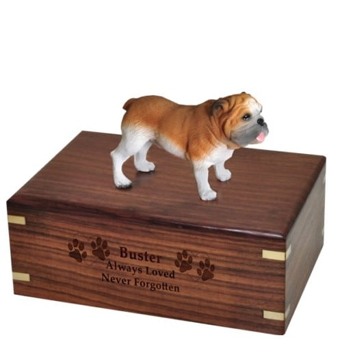 Bulldog dog figurine cremation urn, with engraved wood
