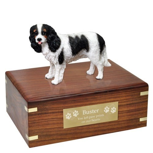 Tricolor Cavalier King Charles Spaniel dog figurine cremation urn, with engraved plaque