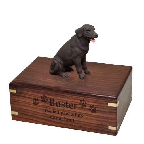 Chocolate Labrador retriever dog figurine cremation urn, with engraved wood