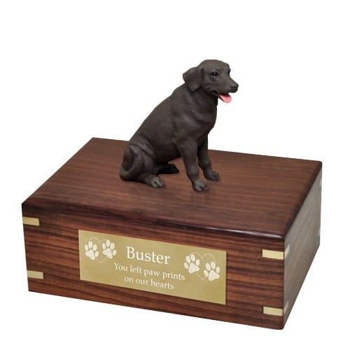 Chocolate Labrador retriever dog figurine cremation urn, with engraved plaque, large