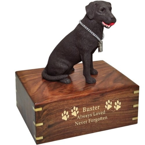 Chocolate Labrador retriever dog figurine cremation urn, with engraved wood, gold fill