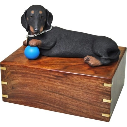 Black Dachshund dog figurine cremation urn