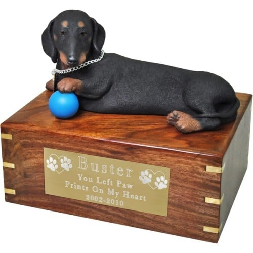 Black Dachshund dog figurine cremation urn, with engraved plaque, medium