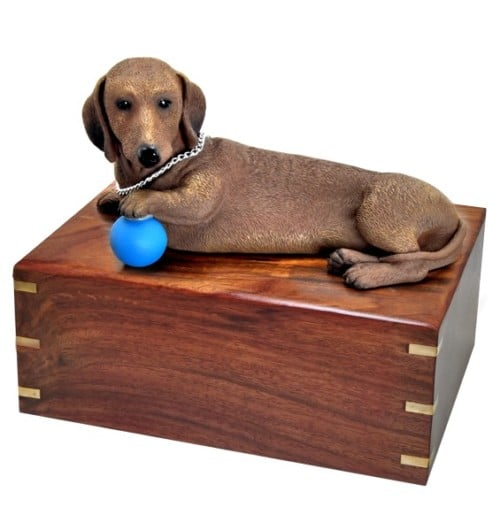 Red Dachshund dog figurine cremation urn, large