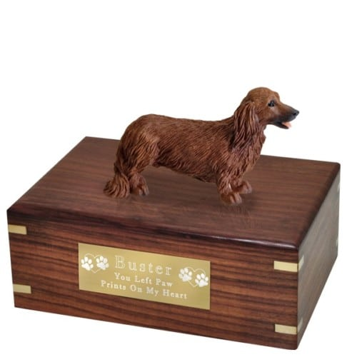Longhaired Red Dachshund dog figurine cremation urn, with engraved plaque, medium