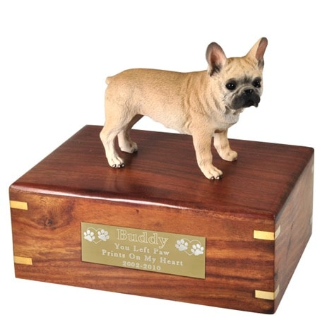 French Bulldog dog figurine cremation urn, with engraved plaque, medium