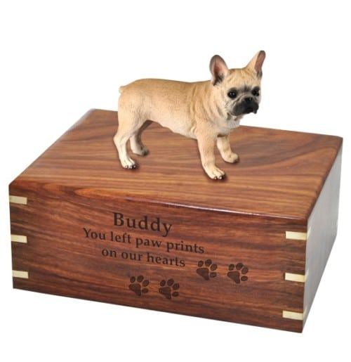 French Bulldog dog figurine cremation urn, with engraved wood