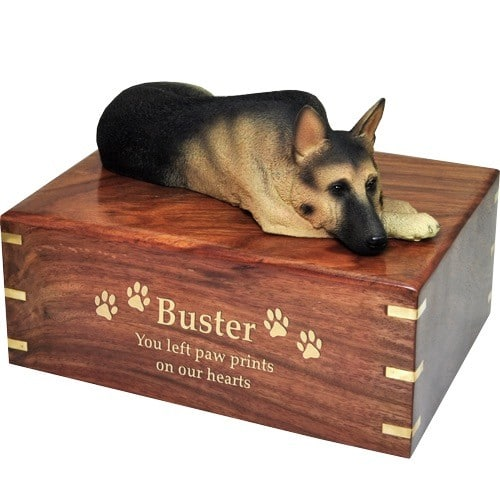 German Shepherd dog figurine cremation urn, with engraved wood, gold fill