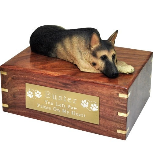 German Shepherd dog figurine cremation urn, with engraved plaque, large