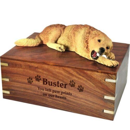 Golden Retriever dog figurine cremation memorial urn, engraved wood