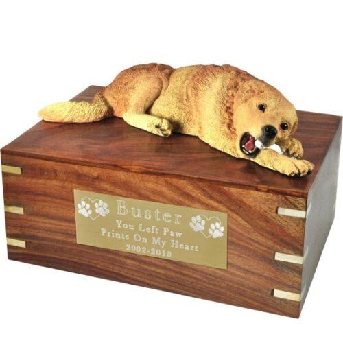 Golden Retriever dog figurine cremation memorial urn, engraved plaque