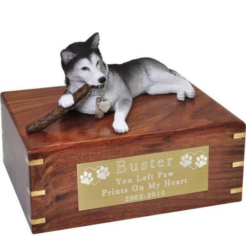 Husky dog figurine cremation memorial urn, engraved plaque