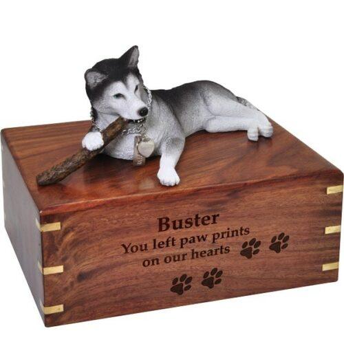 Husky dog figurine cremation memorial urn, engraved wood