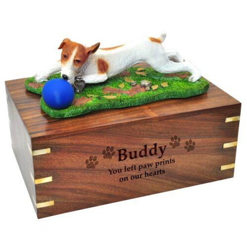 Jack Russell Terrier dog figurine cremation memorial urn, engraved wood