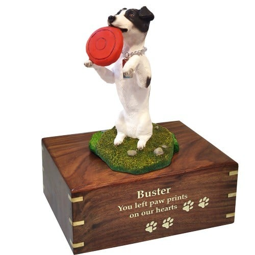 Jack Russell Terrier dog figurine cremation memorial urn, engraved wood, gold fill