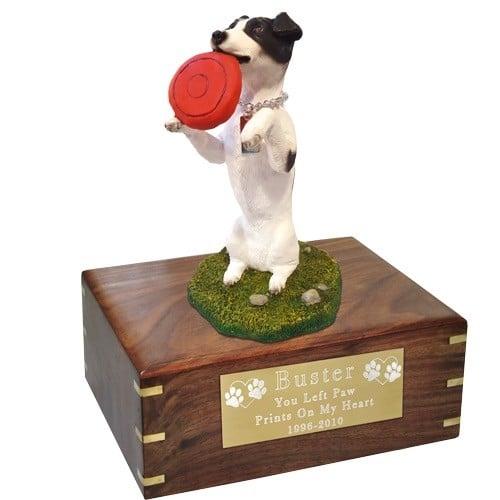 Jack Russell Terrier dog figurine cremation memorial urn, engraved plaque