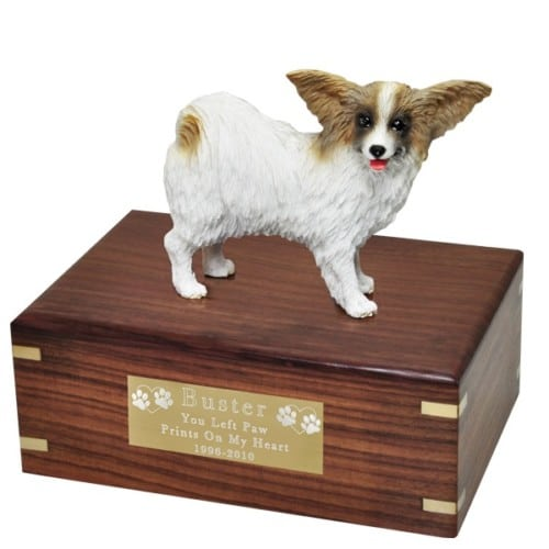 Papillon dog figurine cremation memorial urn, engraved plaque
