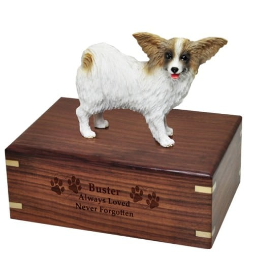 Papillon dog figurine cremation memorial urn, engraved wood
