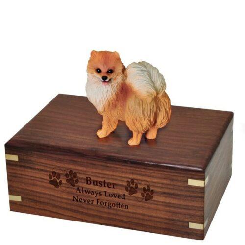 Pomeranian dog figurine cremation memorial urn, engraved wood