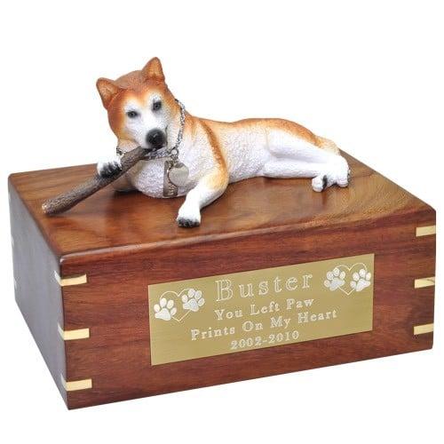Red husky dog figurine cremation memorial urn, engraved plaque