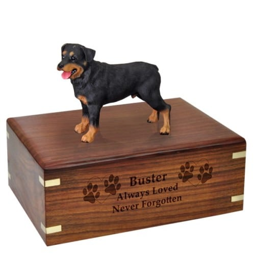 Rottweiler dog figurine cremation memorial urn, engraved wood