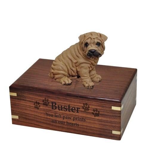 Shar Pei dog figurine cremation memorial urn, engraved wood