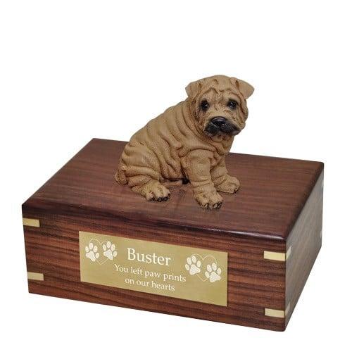 Shar Pei dog figurine cremation memorial urn, engraved plaque