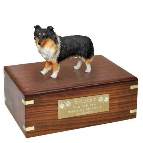 Sheltie dog figurine cremation memorial urn, engraved plaque